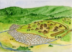 環濠のある弥生時代後期のムラ(百瀬遺跡の想像図)