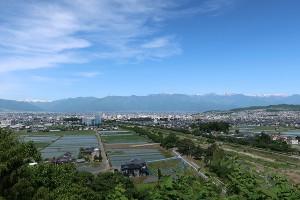 左から乗鞍岳、槍ヶ岳、常念岳、有明山